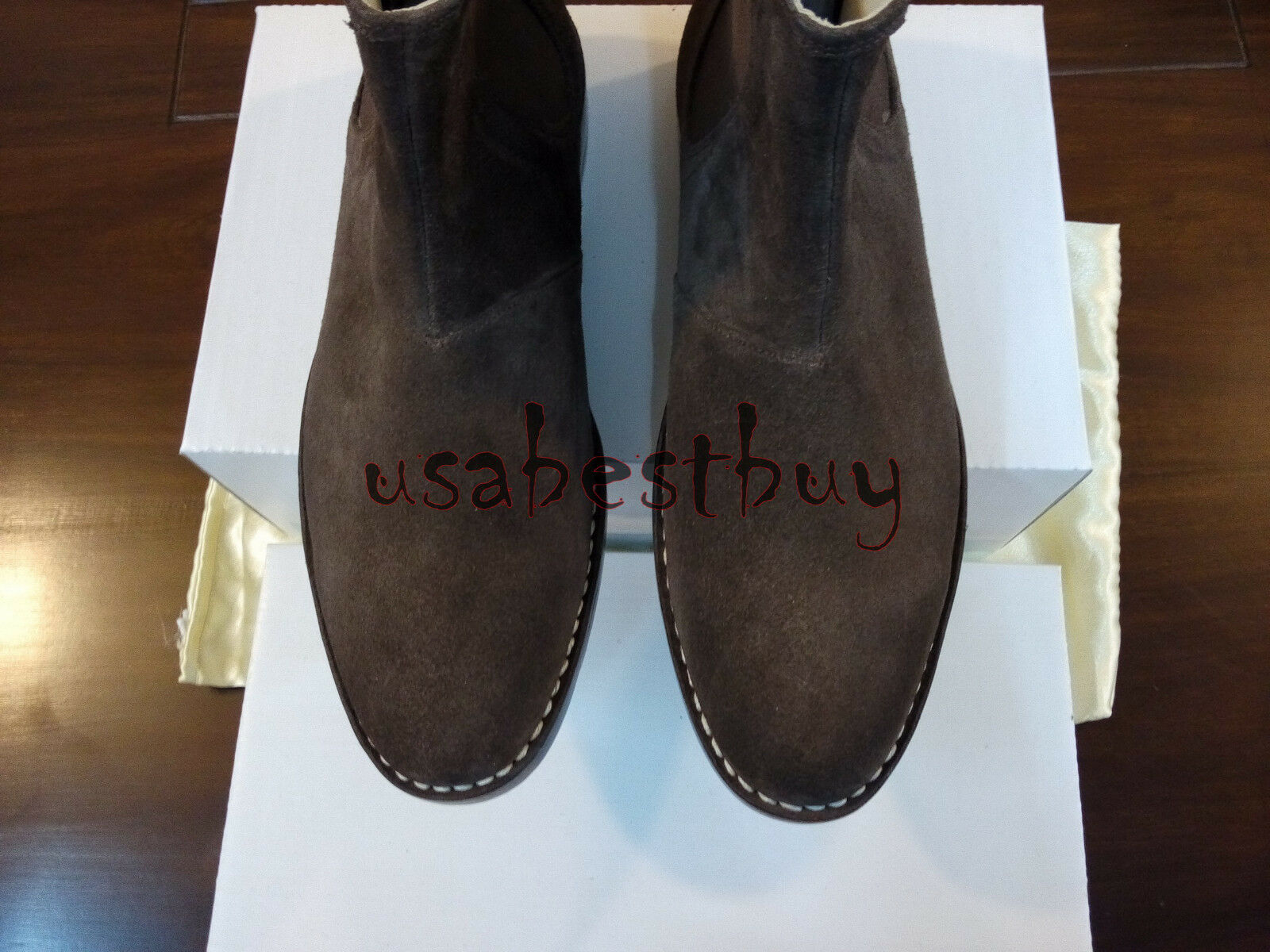 New Handmade Uomo DarkBrown Latest Chelsea Suede Leather Boots with Leather Leather with Sole ca0114