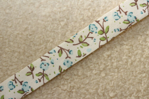 Belle 15mm natural ivory /& blue cath kidtson style fleur rose ruban