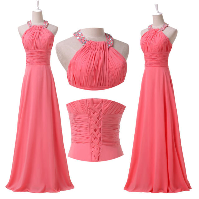 Halter Long Formal Evening Gown Bridesmaid Prom Wedding Party Graduation Dresses