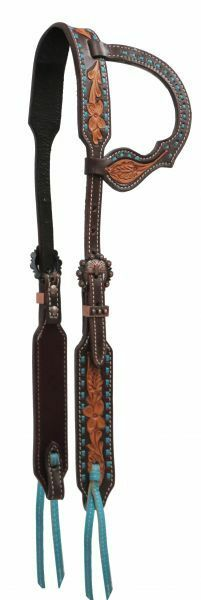 Showman Chocolate silverina Cowhide Teal Stitched Single Ear Tooled HEADSTALL