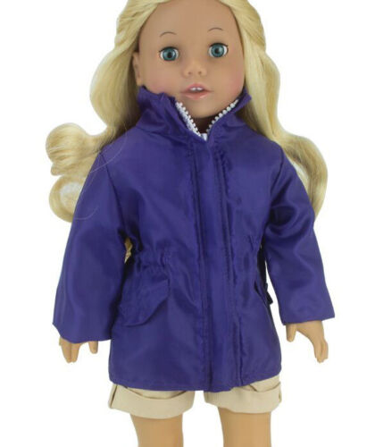 "New Dark Purple Nylon Windbreaker Rain Jacket Fits 18/"" Dolls"