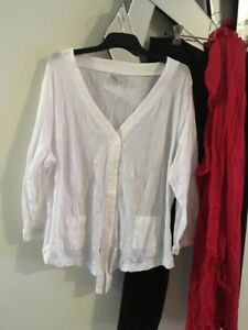 TS-TAKING-SHAPE-White-Crushed-3-4-Sleeve-Jacket-Coat-Top-Blouse-2-x-Pockets-M