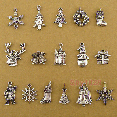 Tibetan Silver Christmas Charms Pendants 16Styles-1 Or Mixed FB-4