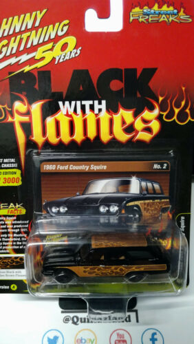 NG64 Johnny Lightning Street Freaks Black With Flames /'60 Ford Country Squire