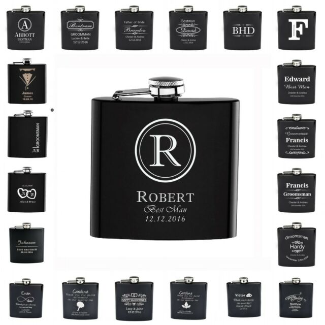 1*Personalized Engraved 6oz Black Hip Flask Stainless Steel Wedding Gift Favors