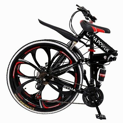 Newdiva Outroad Mountain Bike 21 Speed 6 Spoke 26in Double Disc Brake Bicycle Folding Bike for Adult Teens Ship from US