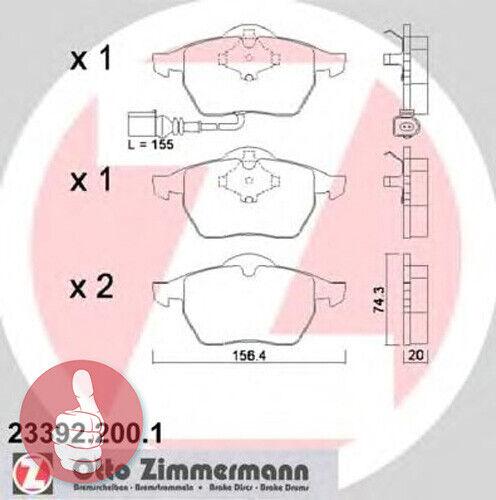 Zimmermann Bremsbeläge mit Warnkontakt Vorderachse 23392.200.1 für Audi