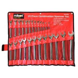 Rolson 25pc Combination Metric Combo Spanner Set 6mm-32mm Garage Tool