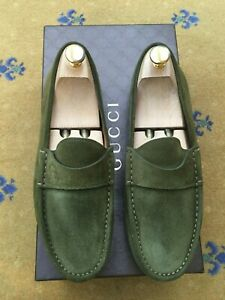 Gucci Mens Shoes Green Suede Loafers UK