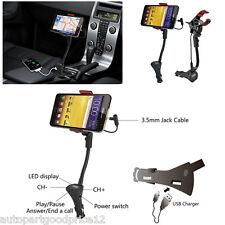 Rotable Car Smartphone Mount Holder USB Cigarette Lighter Charger FM Transmitter
