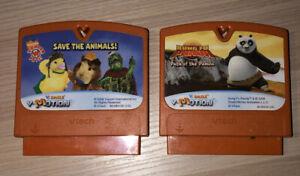 LOT-OF-2-Vtech-V-Smile-V-Motion-Learning-System-Games-Kung-Fu-Panda-Save-Animal