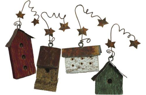 Mini Prim Wood Birdhouse Ornaments PBK Home Decor
