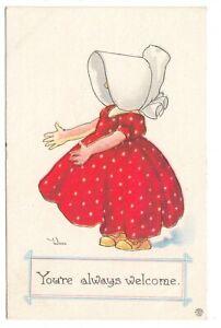 Antique-Sunbonnet-Girl-Postcard-Artist-Signed-Wall-You-039-re-Welcome-Bergman-1912