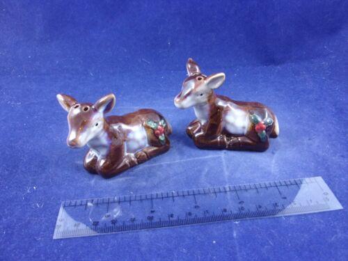 Cracker Barrel Mini Woodland Reindeer Fawn Deer Holly Salt Pepper Shakers CB223