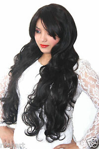 Women-Fibre-Synthetic-maroon-Black-Natural-wavy-curly-Long-hair-wig-133760