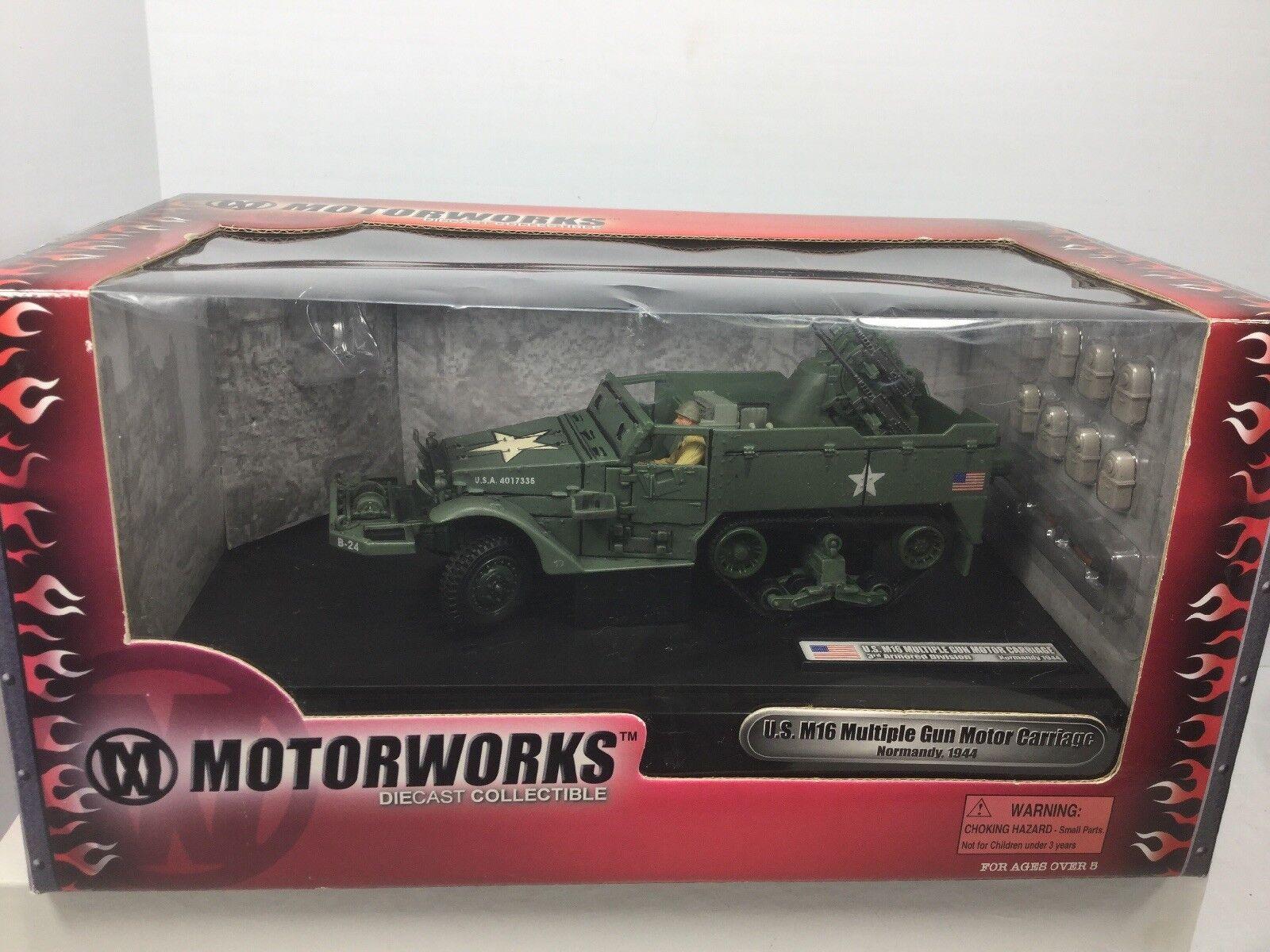 1 32 Motorworks Diecast nos M16 motorCocheriage Semioruga Ult. soldado X D Segunda Guerra Mundial Nuevo En Caja