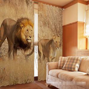 Hierba 3D de León 43 Cortinas de impresión de cortina de foto Blockout Tela Cortinas Ventana Reino Unido