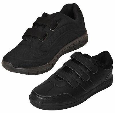 Girls Black School PE Velcro Pumps Plimsolls Shoes UK Size 8-4