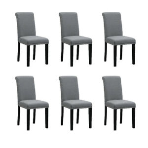 Image Is Loading Set Of 6 Dining Room Gray Chairs