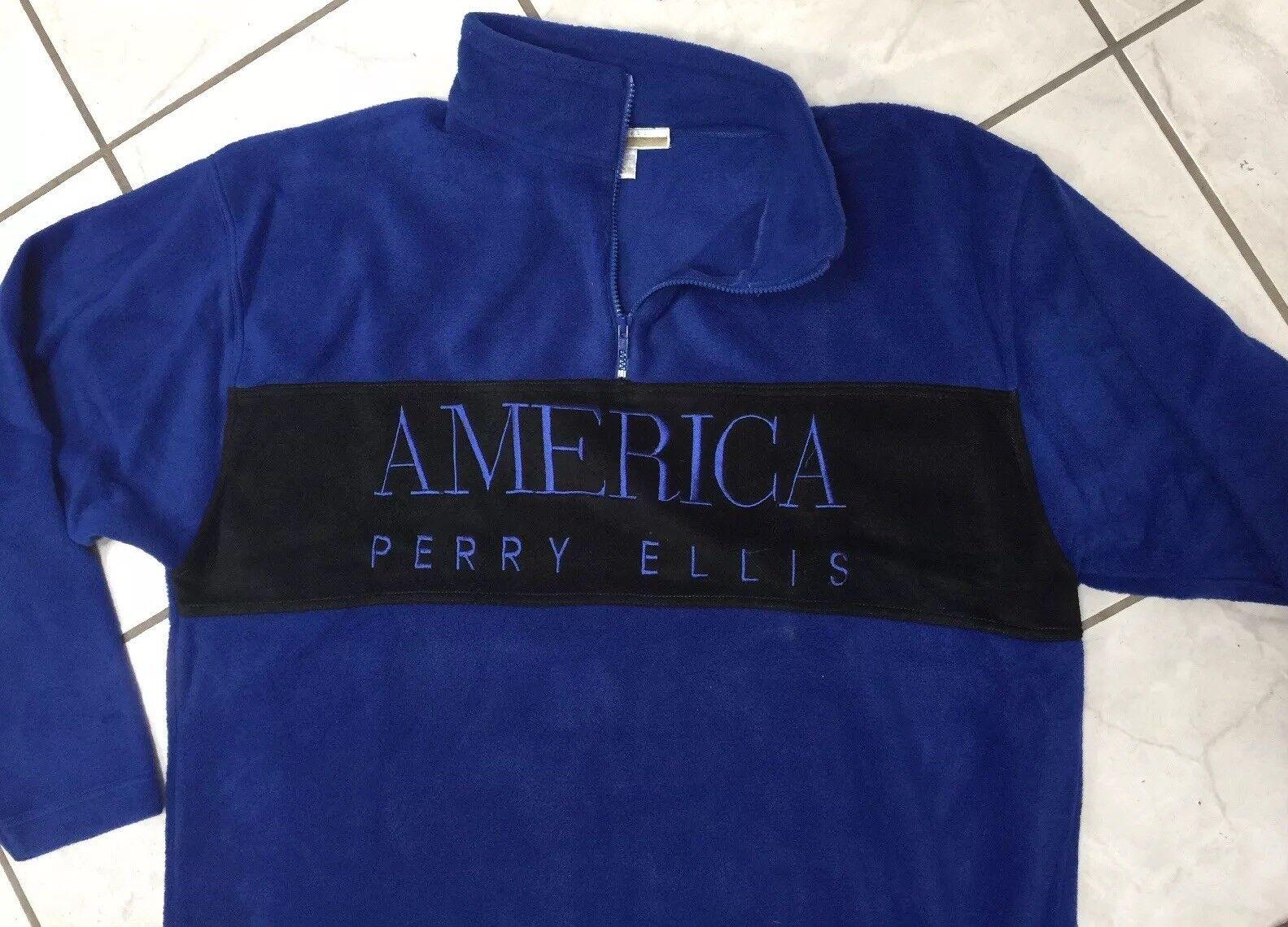 Men's Perry Ellis America XXL Active Pullover /Zipper-Sweatshirt  -Blau Fleece