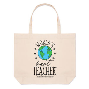 World-039-s-Best-Teacher-Large-Beach-Tote-Bag-Funny-Gift-Present-School-Shoulder