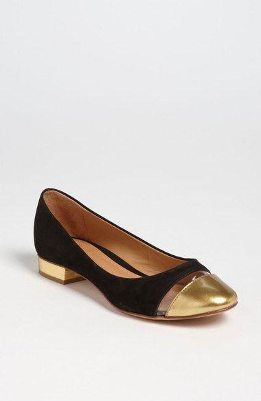 Para mujeres Cuero Gamuza Negra Schutz oro Toe Ballet Ballet Ballet Zapatos sin Taco Sin 6.5 B Goya Cap-Toe  Entrega gratuita y rápida disponible.