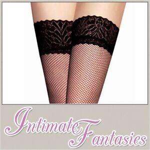 3e267beb893dc Sexy Black Thigh High Fishnet Lace Top Stockings Plus Size 14 16 18 ...