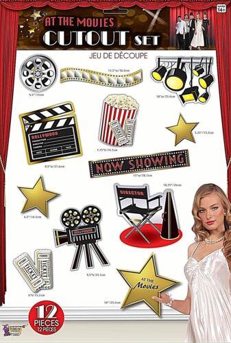 """/""""au cinéma/"""" 12 pc découpes Hollywood Oscars Parti Décoration Kit 3-1 C"""
