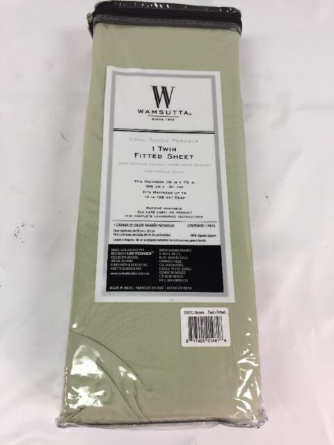 Wamsutta Cool Touch Percale 350 Thread Count Green Twin Ed Sheet