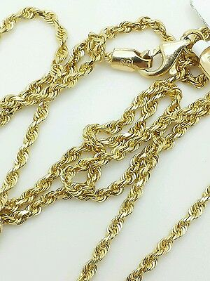 """14k Solid Yellow Gold Diamond Cut Twist Rope Necklace Pendant Chain 2.0mm 16-30"""""""