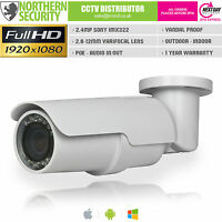 Sony Imx 2mp 2.8-12mm 1080p Onvif P2p 42leds 40m Bullet Poe Audio Ip Camera Cctv