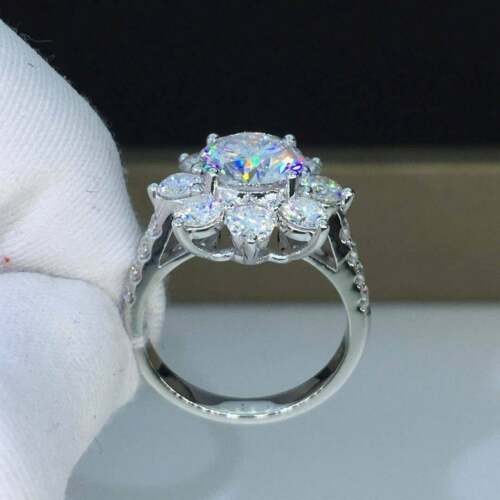 Certified 2.50Ct Round Forever Moissanite Halo Engagement Ring 14k White Gold