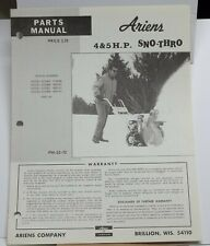 Vintage Ariens Parts Manual Model 4 Amp 5 Hp Sno Thro Manual 22 72 Snow Blower