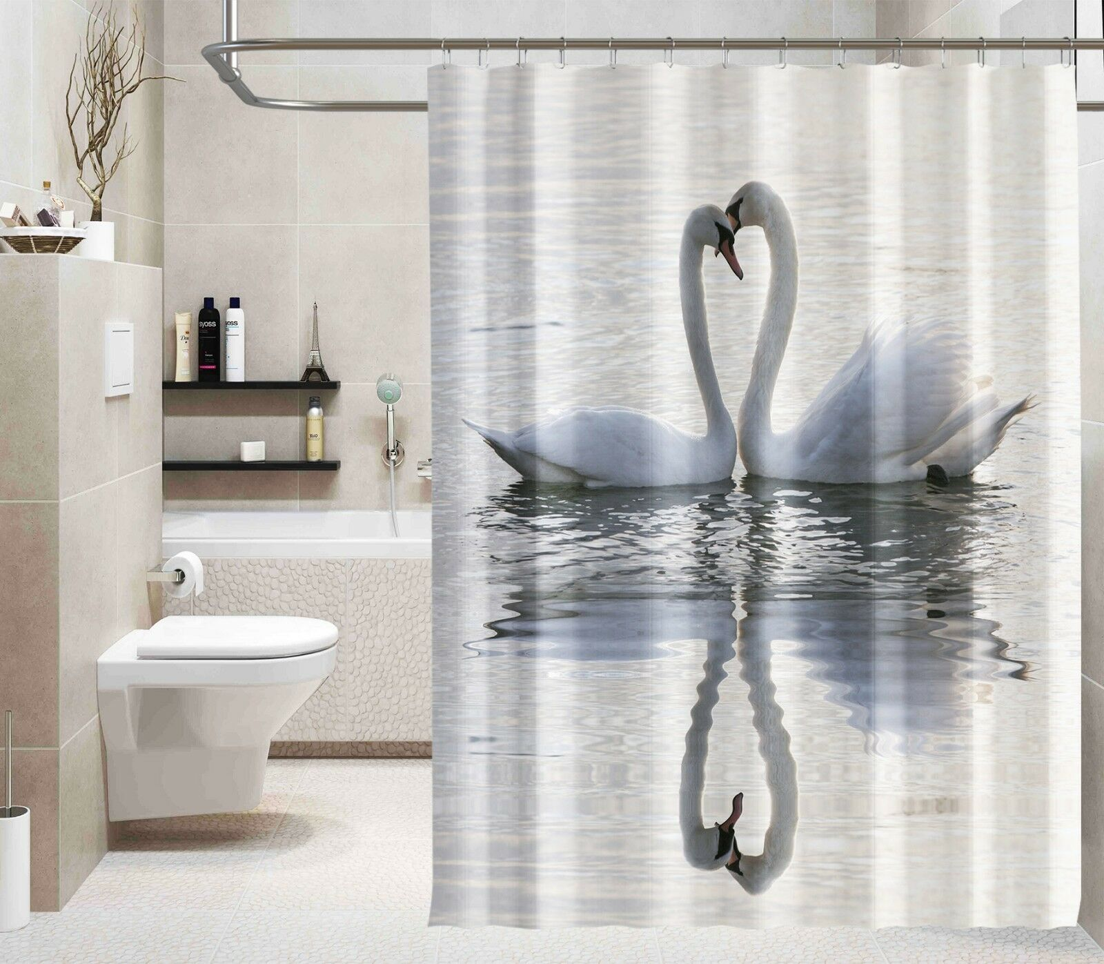 3D Weiß Schwan Schwan Schwan See 8 Duschvorhang Wasserdicht Faser Bad Daheim Windows Toilette | New Product 2019  f636e2