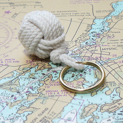 Mystic Knotwork: White Nautical Monkey Fist Key Chain