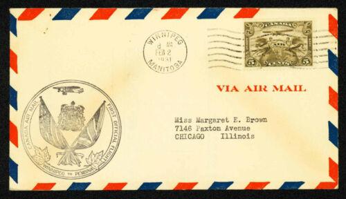1931 FIRST FLIGHT WINNIPEG TO ST. PAUL #3105d. - CANADA C1 FRANKING (ESP#2144)