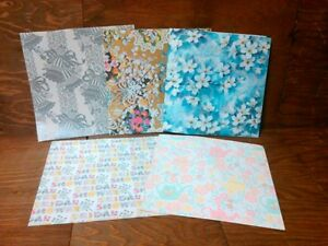 Lot 5 Vtg Bridal Floral Gift Wrap Designs 3 Uncoated 2 Coated Made in USA