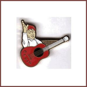 Pin-039-s-Pins-lapel-pin-Elvis-Presley-Guitare-Rouge-bordeau