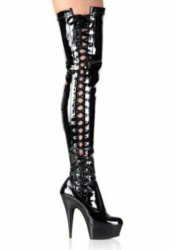 Pleaser DELIGHT-3050 Wouomo 6 Inch Side Laced Platform Thigh avvio, Side Zipper