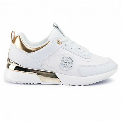 Guess Womens White And Gold Embossed