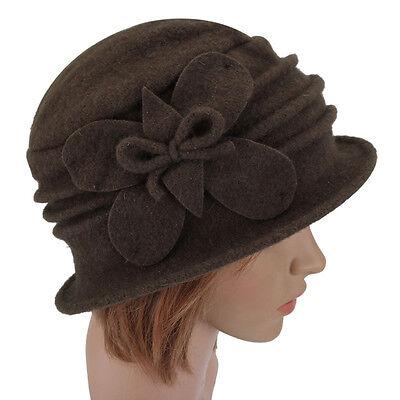 Women Lady Floral Bow Wool Bucket Hat Foldable Cloche Crochet Boonie Winter Cap