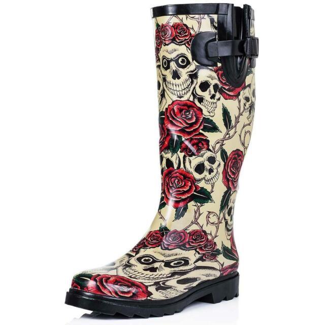 New Ladies Womens Knee High Flat Wellies Wellington Knee Calf Rain Boots Sz 5-10