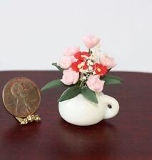 Dollhouse Miniature Ceramic Round Planter Vase Set of 2 Pink Roses N7134