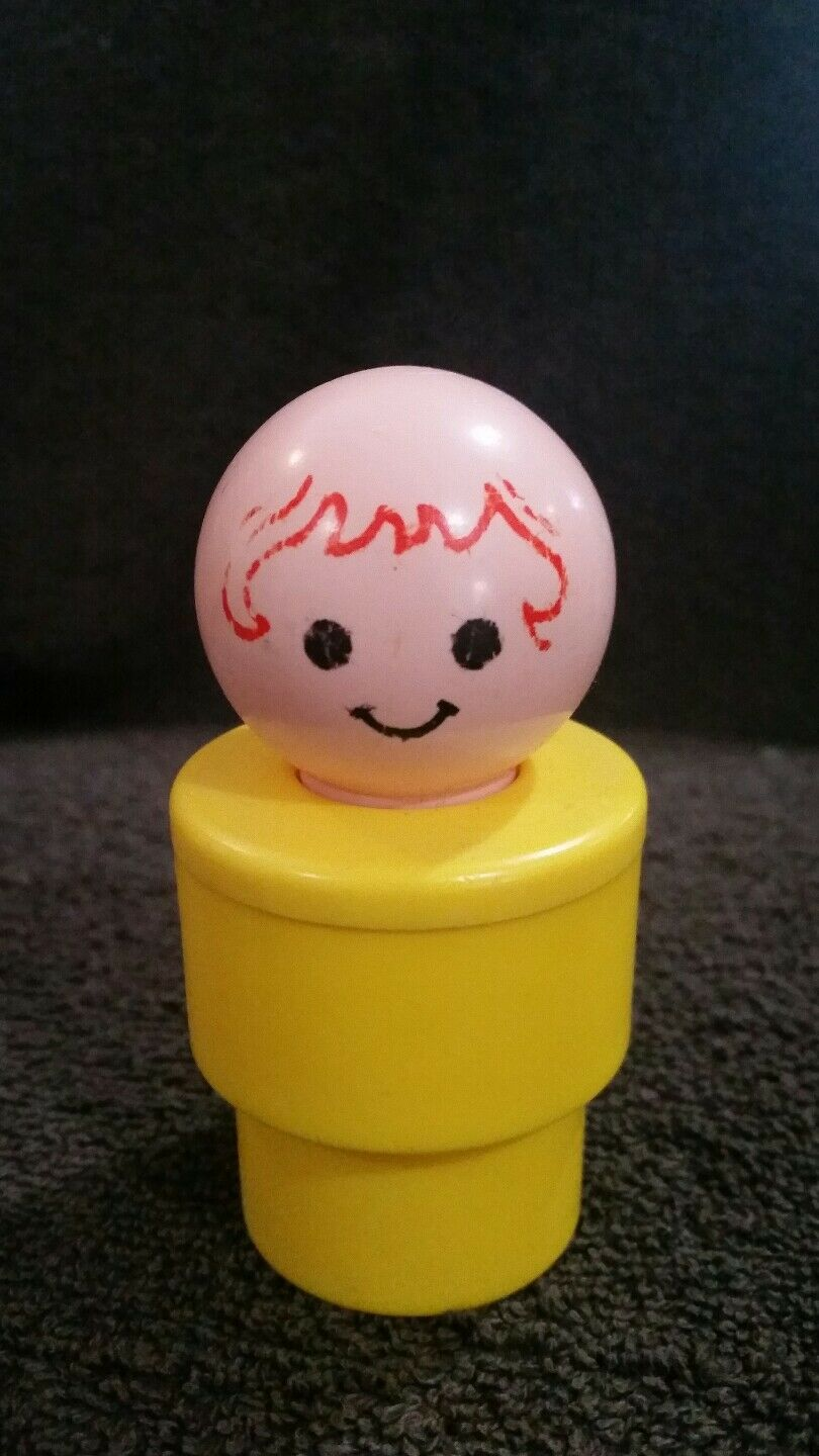 Vintage 1974 Jumbo Large Yellow Girl Little People Fisher Price Toy 3.5  Tall