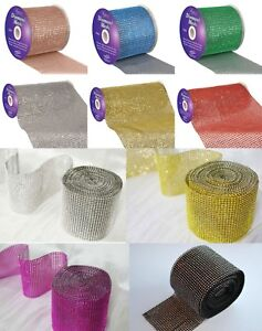 Diamante-Rhinestone-Effect-Bling-Mesh-Cake-Trim-Ribbon-DIY-Wedding