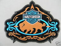 Harley Davidson Bar & Shield Buffalo Patch 8 Obsolete Neon Blue, Brown & Black