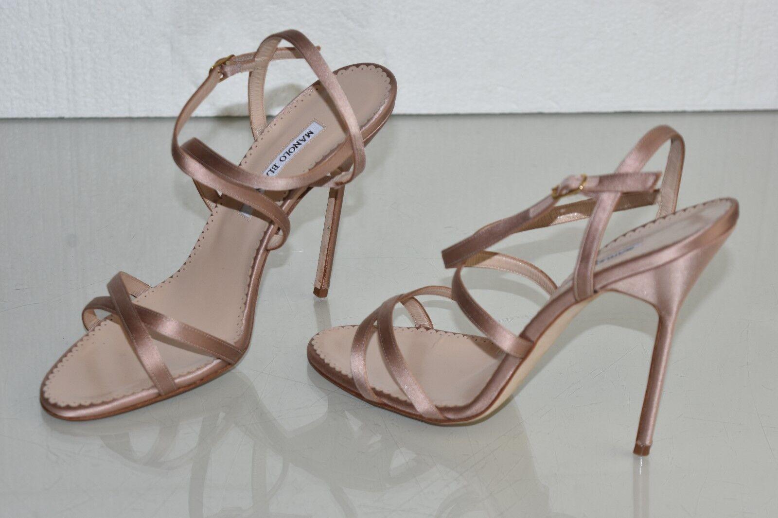 875 NEW Manolo Blahnik BAYAN Strappy NUDE Satin Sandal Beige 5  Heels shoes 41