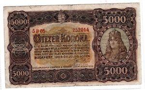 HONGRIE HUNGARY Billet 5000 KORONA 1923 P76  BON ETAT