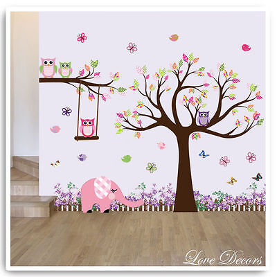 Owl Animal Wall Stickers Jungle Zoo Elephant Nursery Baby Kids Room Decals Art