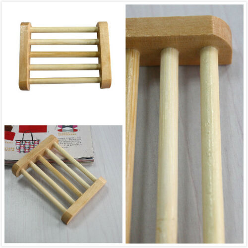 Natural Wood Wooden Soap Dish Storage Tray Holder Bath Shower Plate Bathroom to